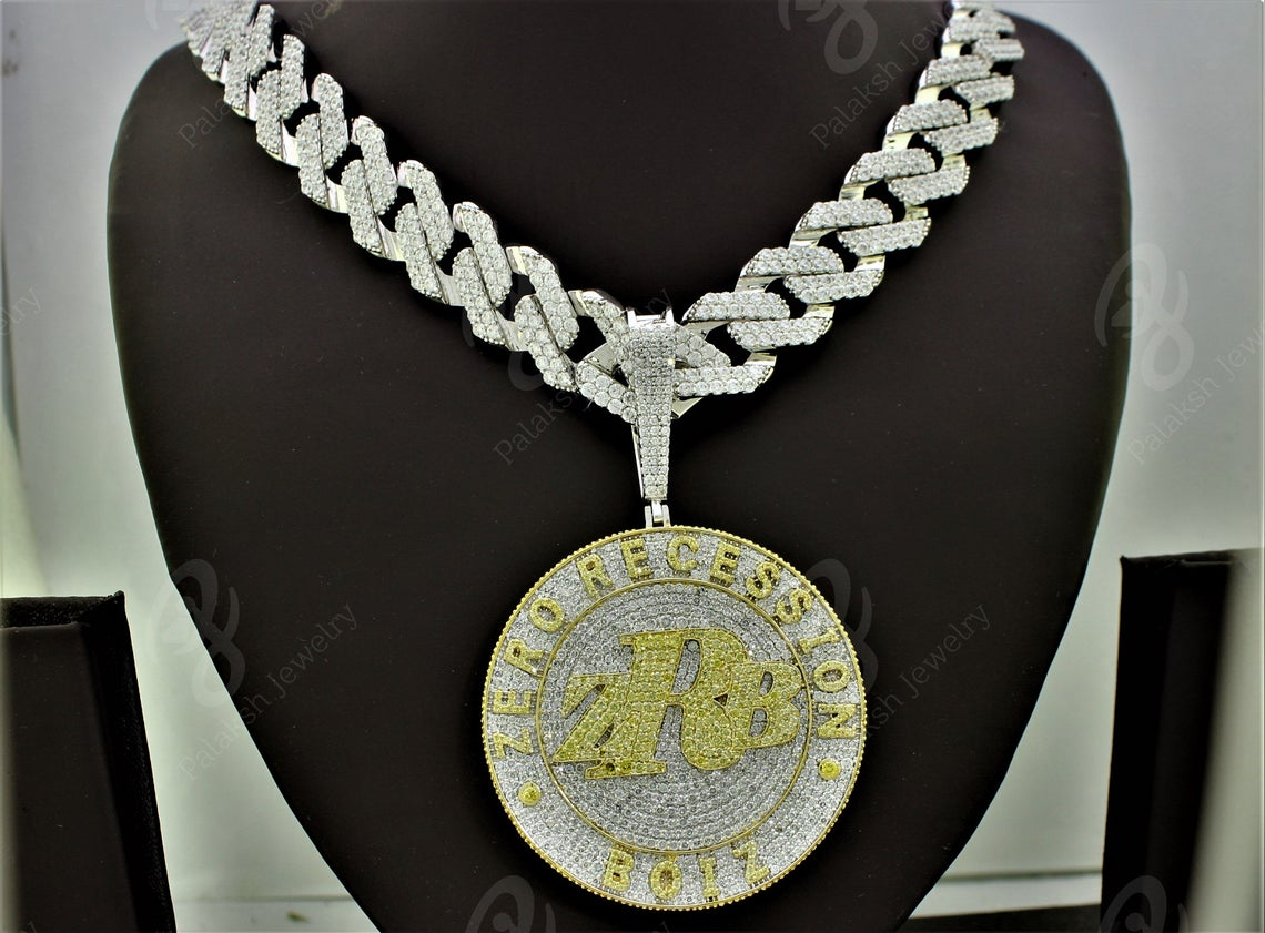 Best Hip Hop Bling 2021 ZRB Custom Iced Out Yellow/White Diamond Pendant