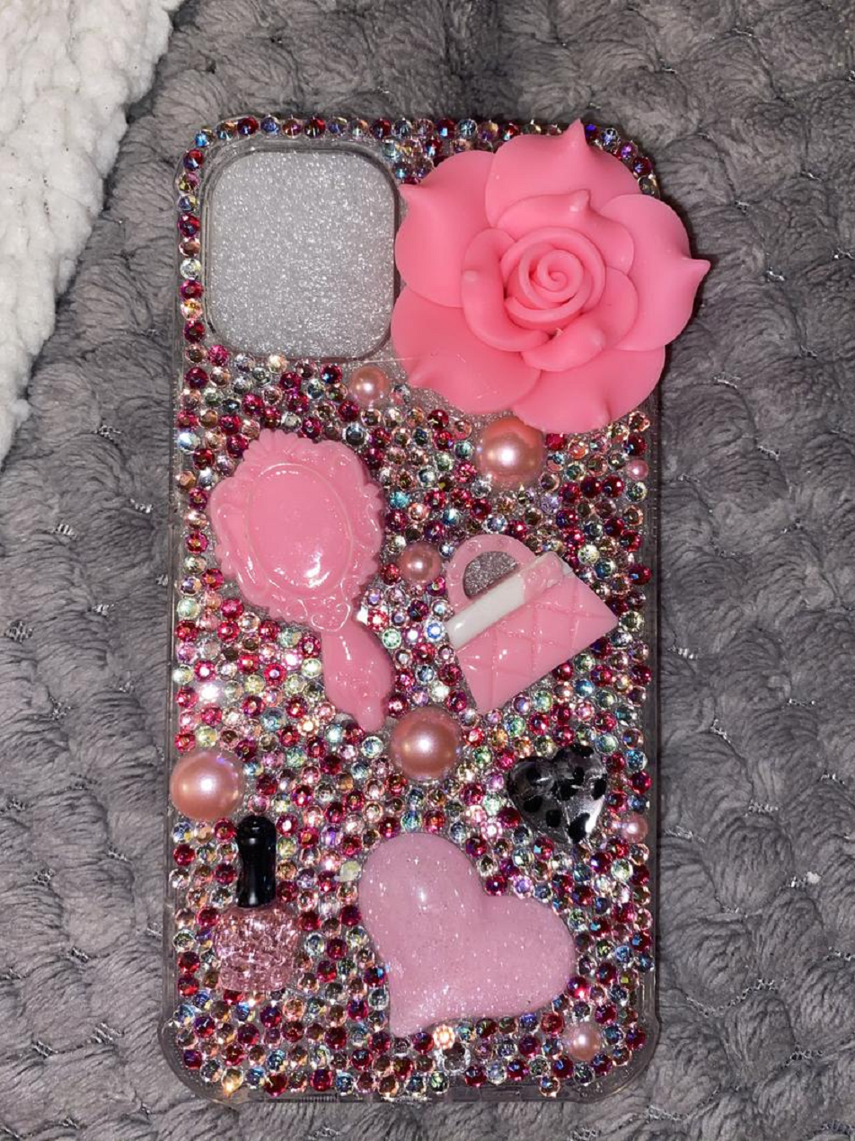 Best Cellphone Case Bling 2021:  iPhone 12 Mini Blinged Out Phone Case with Multi-Color Rhinestones