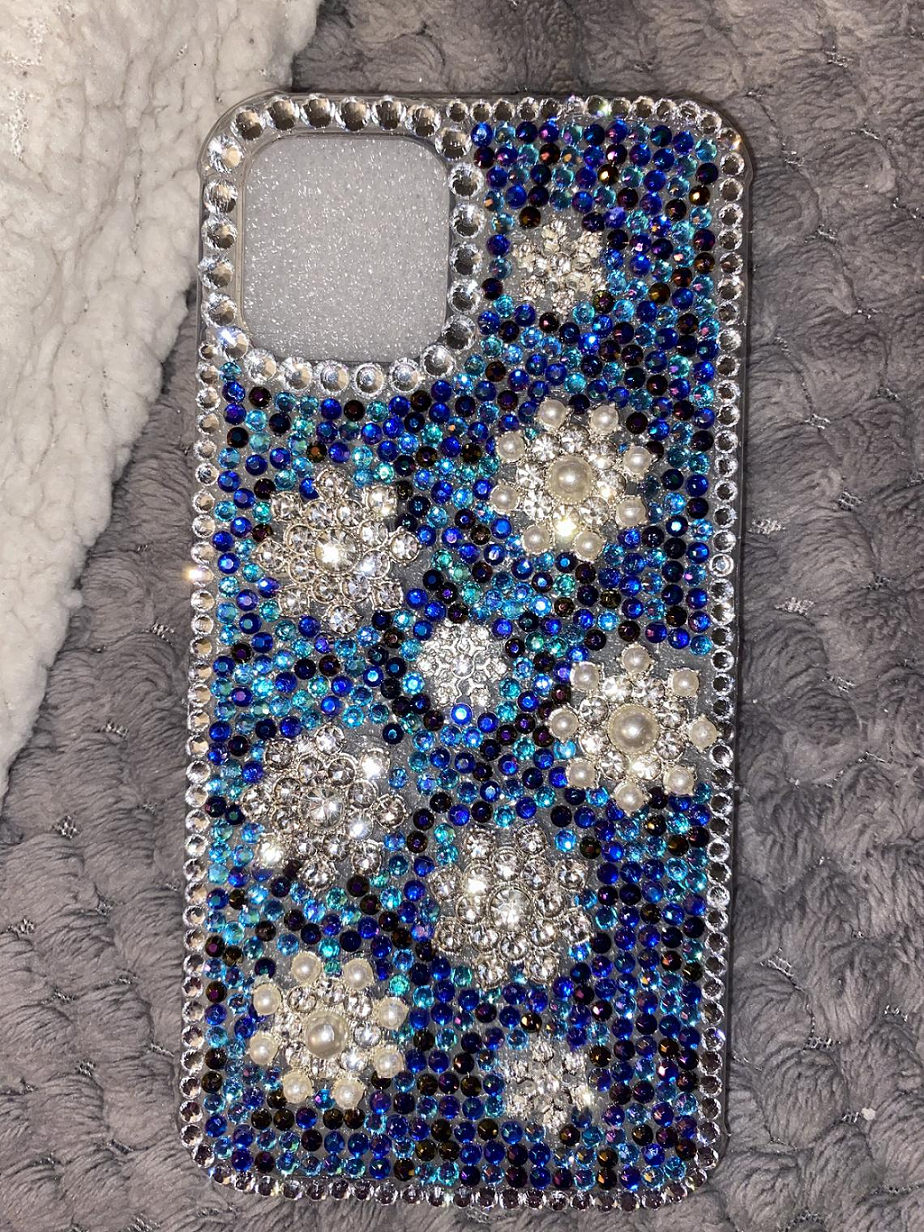 Best Cellphone Case Bling 2021:  Blinged out iPhone Case with Blue, Black and Silver Rhinestones and Pearls
