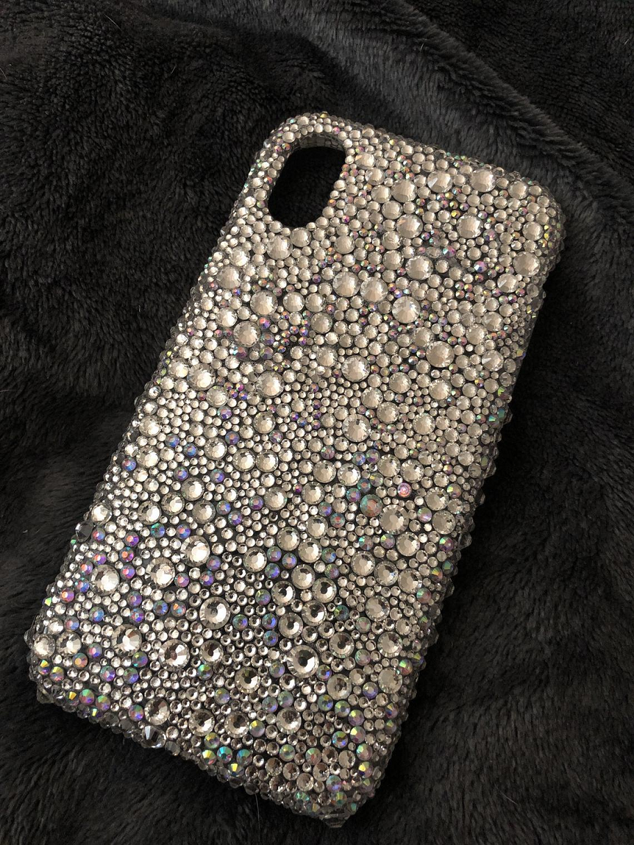 Best Cellphone Case Bling 2021:   Custom Bling IPhone X Mobile Back Cover with Silver Rhinestones