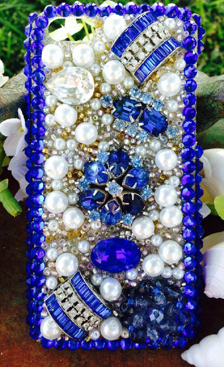 Best Cellphone Case Bling 2021:  Phone Bling Case with Electric Sapphire, Pearls and Rhinestones