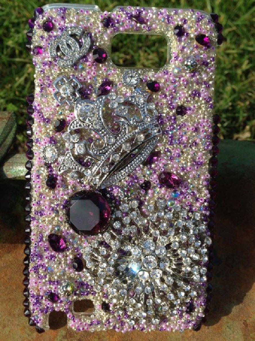 Best Cellphone Case Bling 2021:  Mobile Back Case with Purple Gems and Multi-Color Rhinestones with Pearls