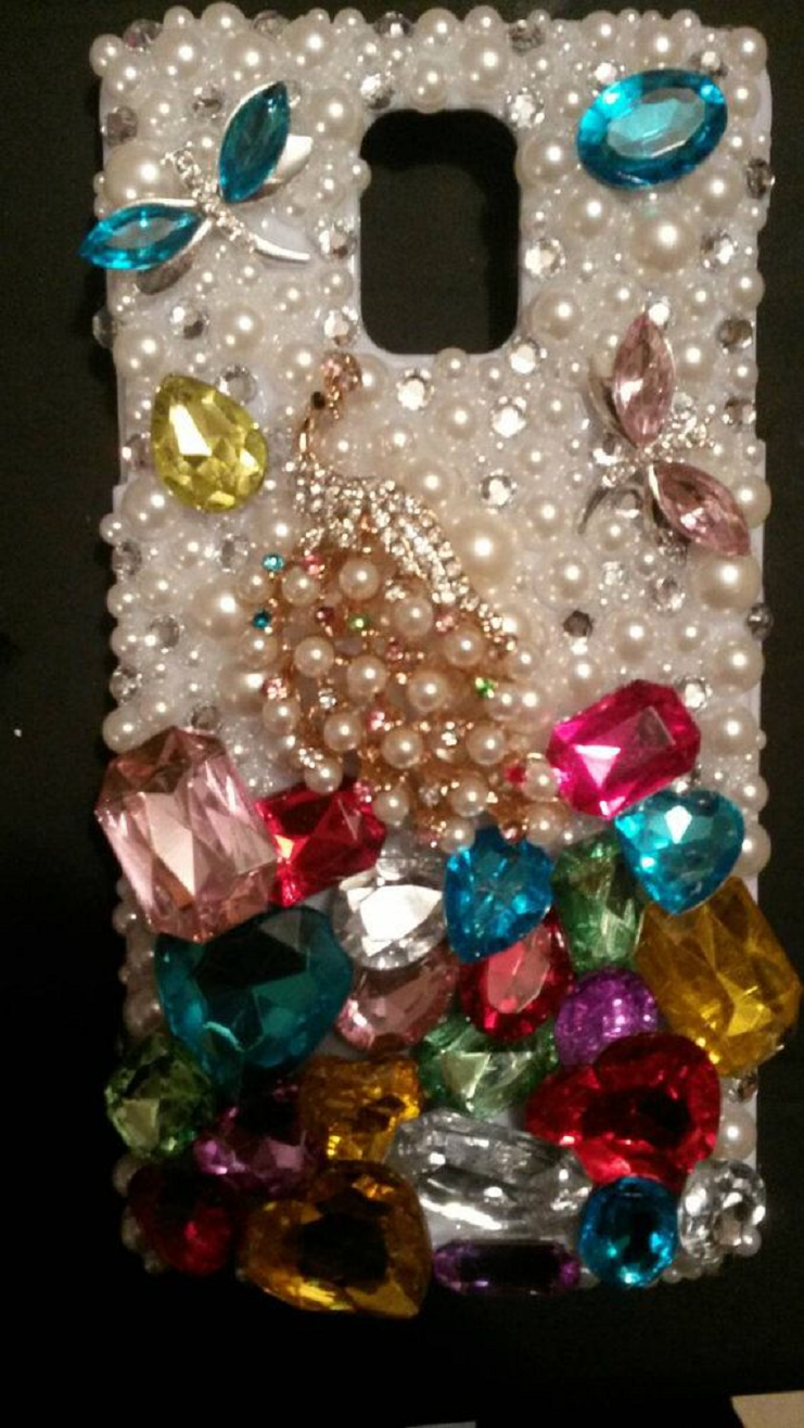 Best Cellphone Case Bling 2021:  Blinged Out Custom Handmade Multi-Color Gems with Pearls and Rhinestones Mobile Case