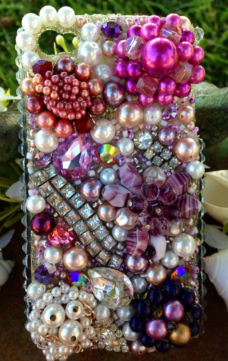 Best Cellphone Case Bling 2021: Mobile Back Case with Multi-Color Pearls, Rhinestones and Gems