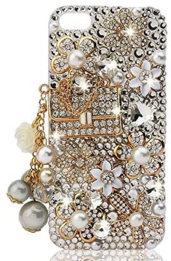 Best Cellphone Case Bling 2021: Floral Coco Bag 3D Bling Crystal and Pearls iPhone Case