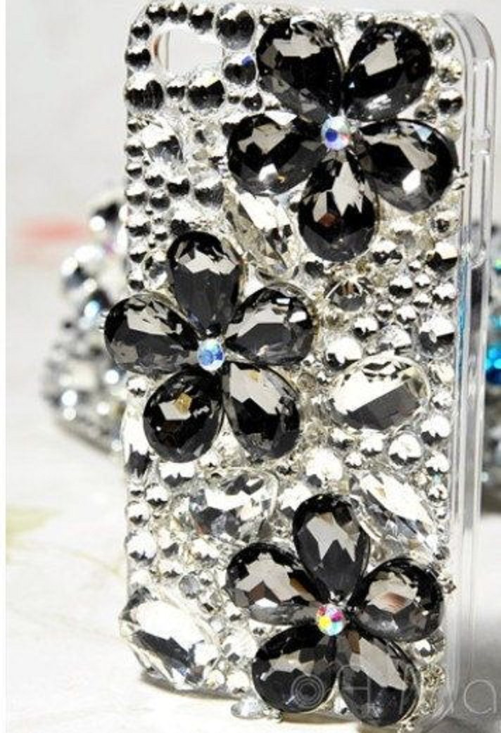 Best Cellphone Case Bling 2021:  Mobile Back Case Fully Jewelled with Black Crystals and Clear Rhinestones
