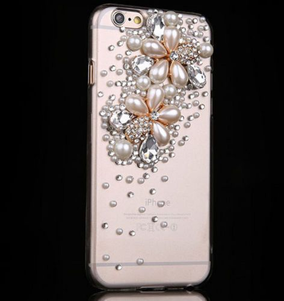 Best Cellphone Case Bling 2021:  Best Cellphone Case Bling 2021: Pink iPhone Case with Clear Crystals and Tear Shaped Pearls and Rhinestones