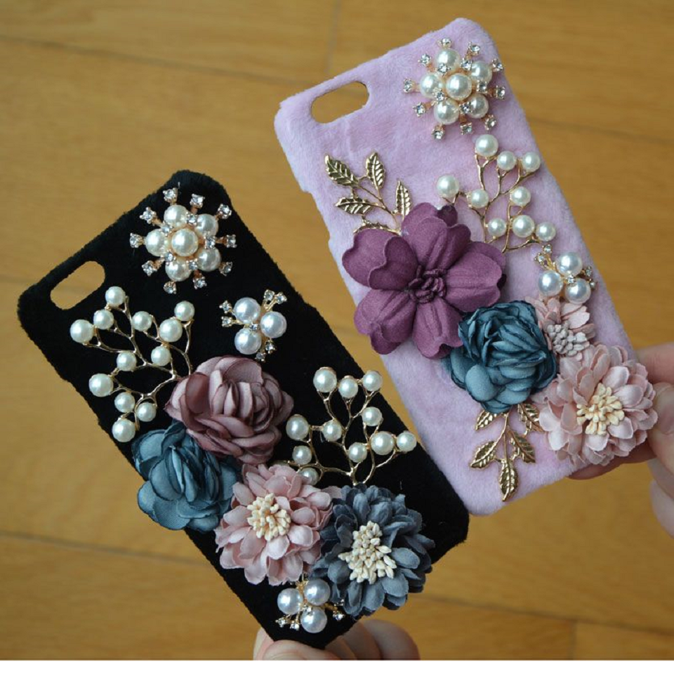 Flowers Inspired Mobile Back Case with Pearls and Rhinestones