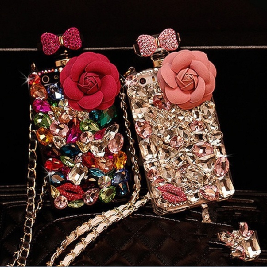 Best Cellphone Case Bling 2021: Mobile Back Case In Bottle Shape with Rhinestone Bows and Rose with Multi-Color Crystals Embellished