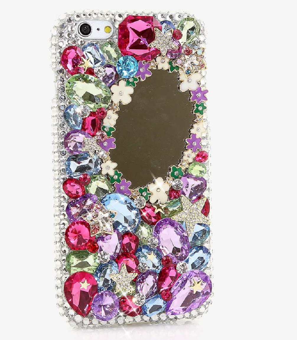 Best Cellphone Case Bling 2021:   Handmade Crystals Makeup & Magic Mirror Hybrid Protective Cover for iPhone