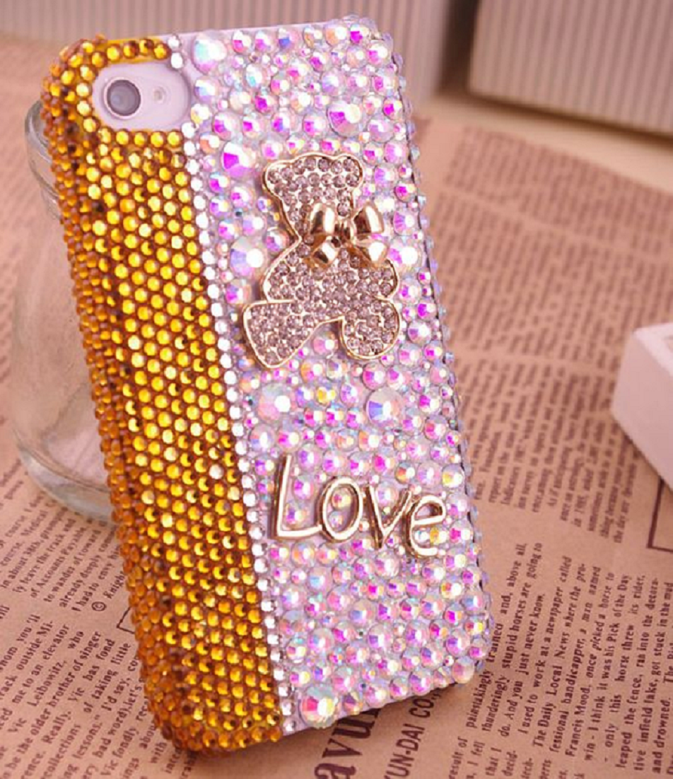 Best Cellphone Case Bling 2021: Best Cellphone Case Bling 2021:  Blinged Out Phone Back Cover with Gold Rhinestones and Pink Sequins with Love Badge