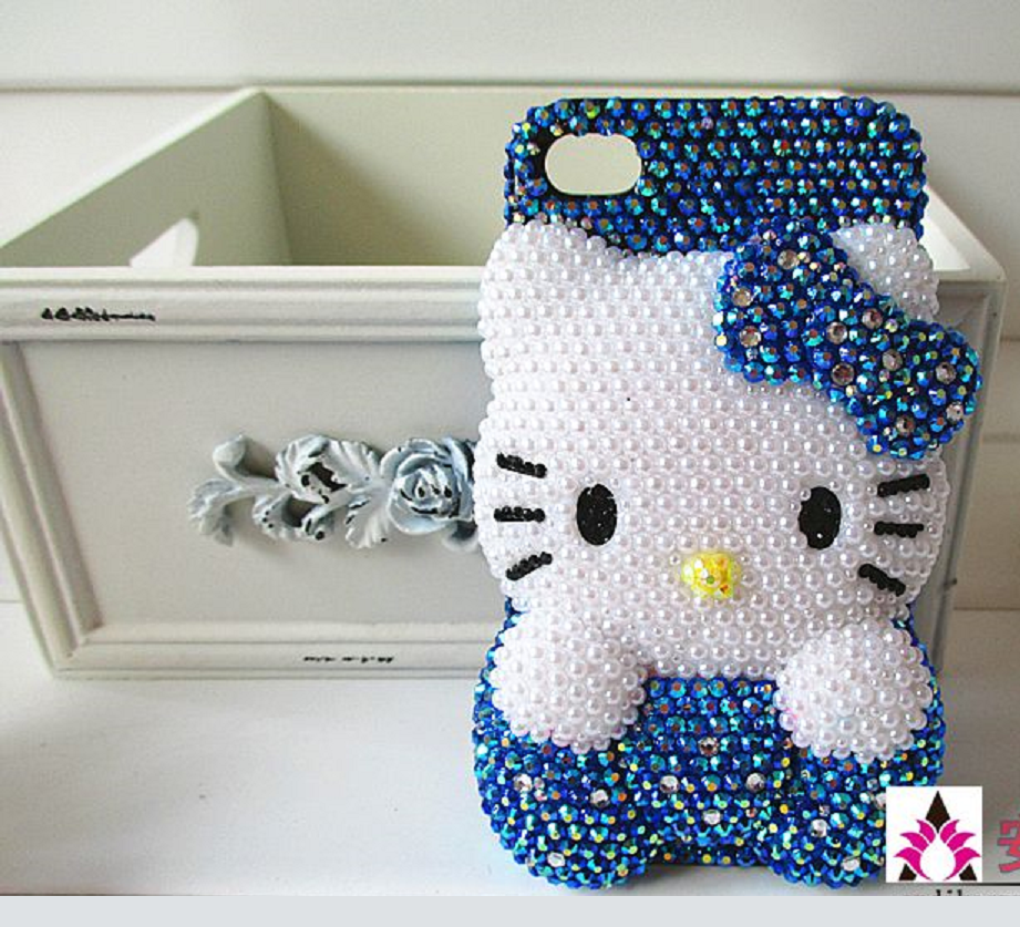 Blinged Out White Rhinestone Hello Kitty with Dark Blue Rhinestone Background Mobile Back Cover