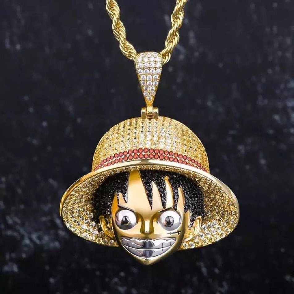 14K Gold Anime-Inspired Pendant with Rhinestones with A 3mm Rope Chain