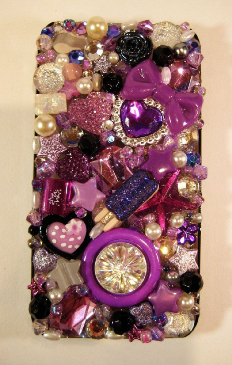 Best Cellphone Case Bling 2021:   Purplish Inspired Color Mobile Back Cover Jewelled with Pearls, Gems and Rhinestones