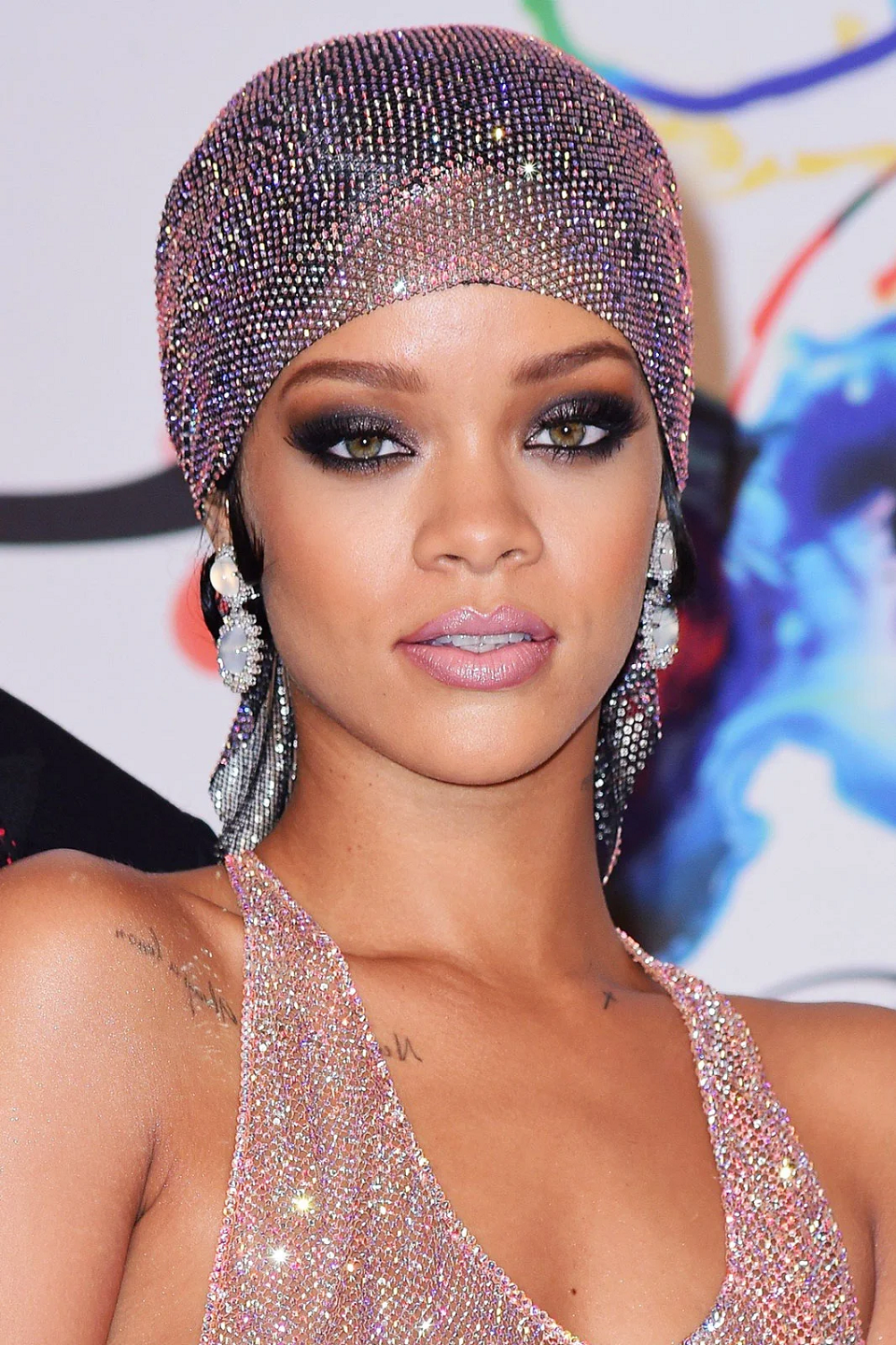 Amazing Hollywood celeb bling. Iced Out, Lavender Eye and Matching Head Wrap with Rhinestones