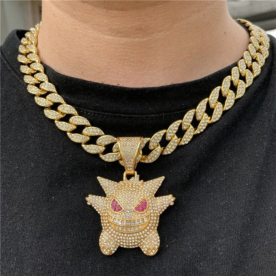 Best Hip Hop Bling 2021 Hip-hop Necklace Iced Out Bling Gengar Rhinestone Pendant with Necklaces Chain