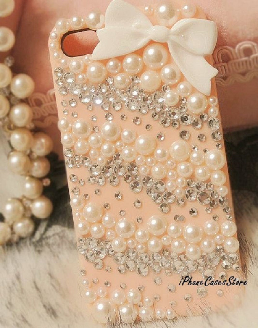 Light Pink Mobile Case with Rhinestones and Pearls and Bow Tie