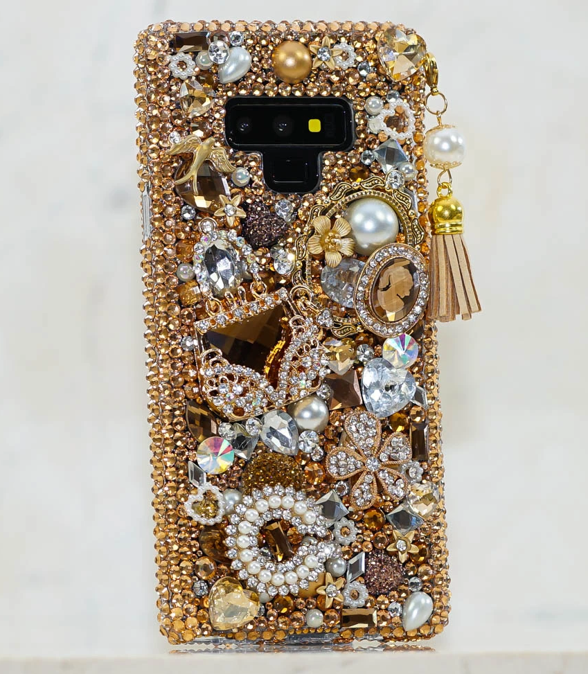 Golden Mobile Cover, Handmade Design with Rhinestones, Pearls and  Tassel Charm