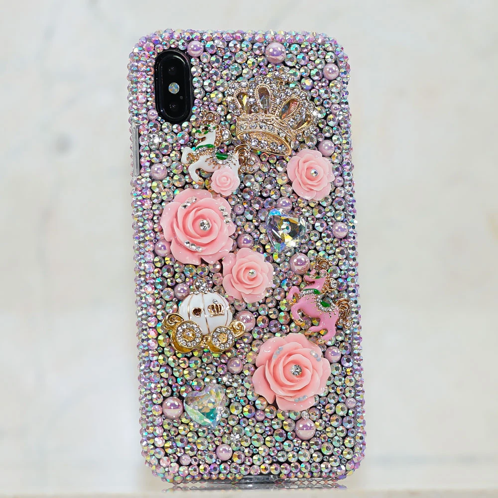 Blinged Out Mobile Back Case with Rhinestones, Rose and Pumpkin Chariot