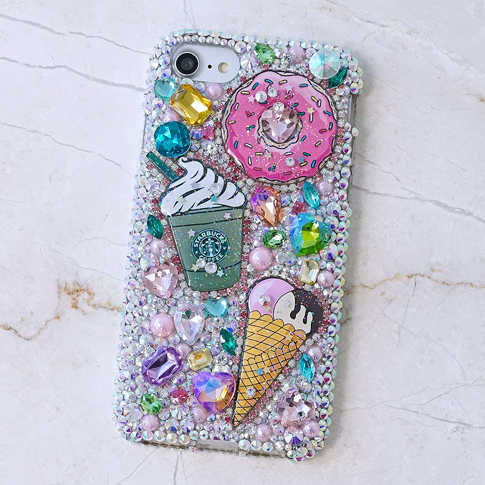 Pastry Inspired Phone Case Cover with Rhinestones and Gems