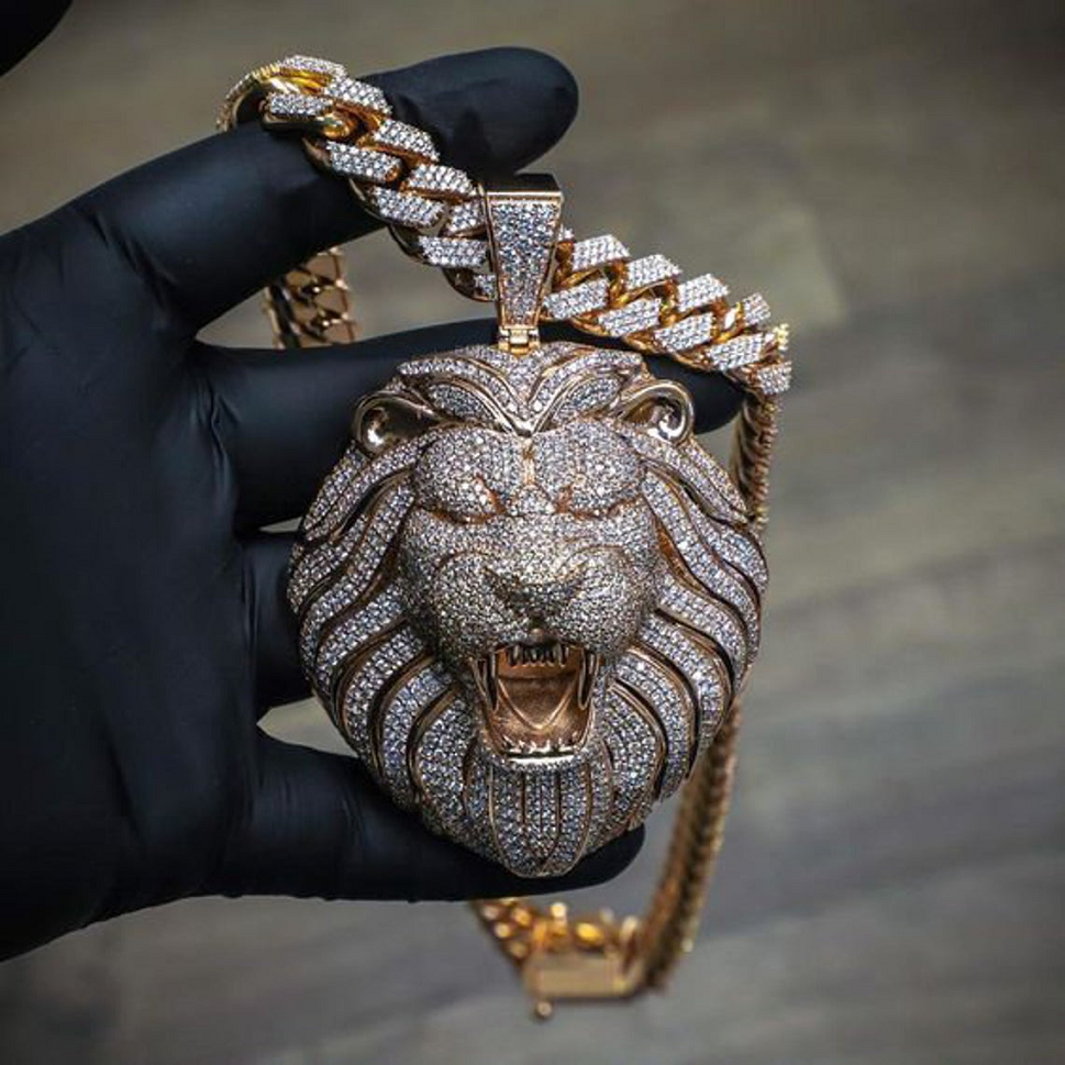 Best Hip Hop Bling 2021 Sterling Silver 925 Fully Iced Out Lion Head CZ Diamond Pendant With Cuban Link Iced Out Chain