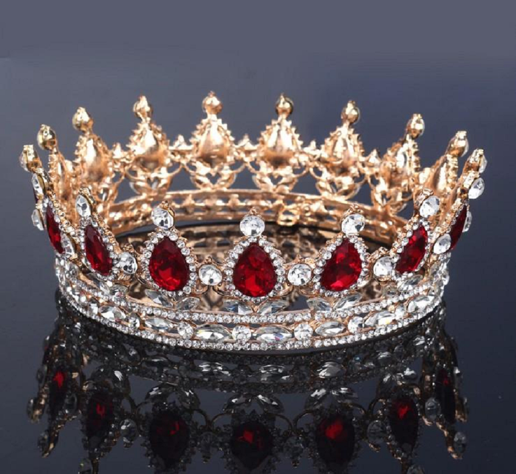 Best Tiara Bling Online: Vintage Fashion Gold Tiara with Ruby's and Rhinestone Headbands