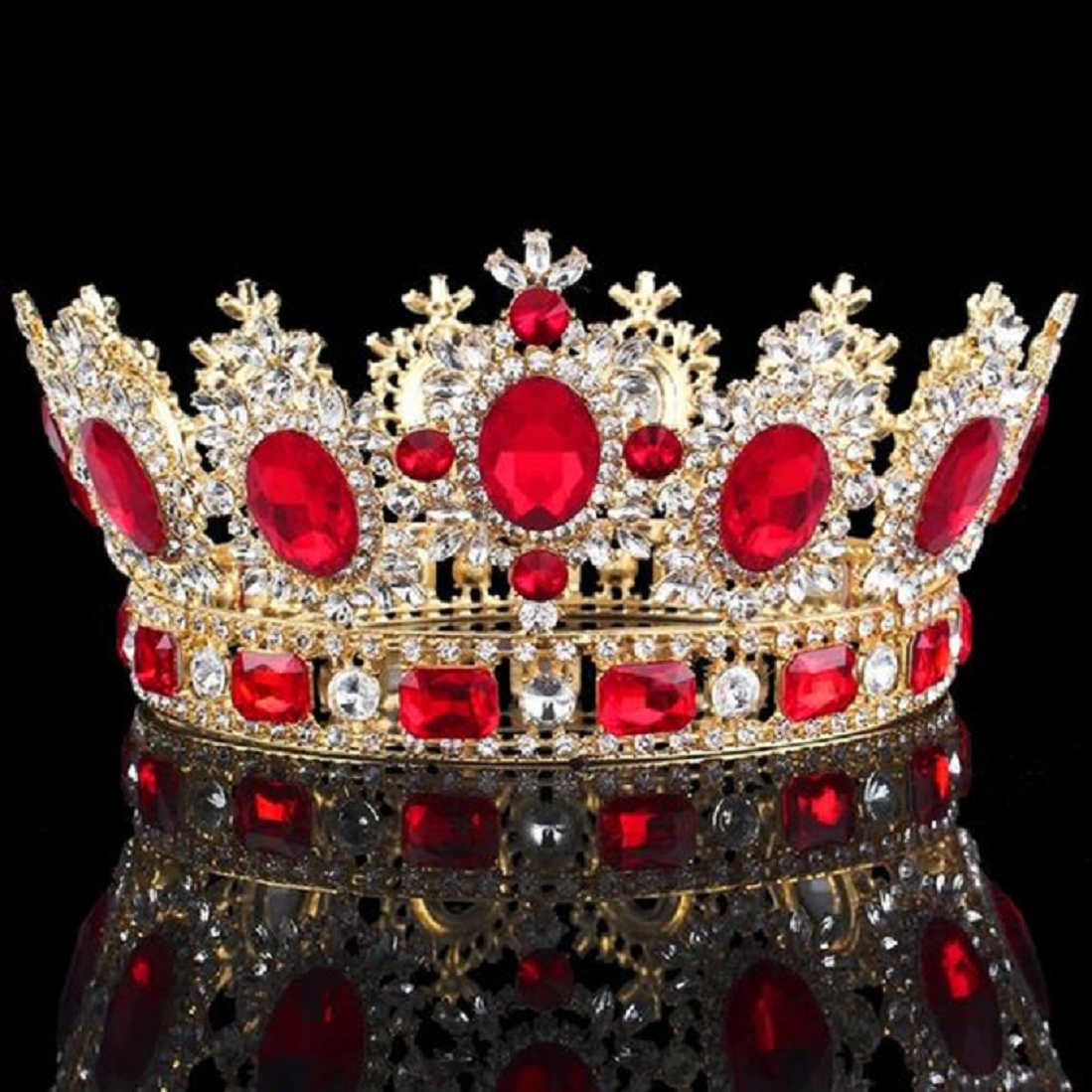 Best Tiara Bling Online: Vintage Royal Crown in Gold with Ruby and Clear Diamonds