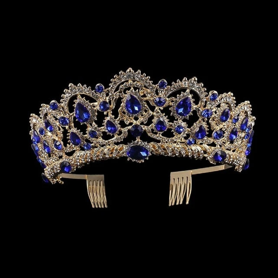 Best Tiara Bling Online: European Crystal Tiaras Vintage Gold Rhinestone Pageant Crowns With Comb