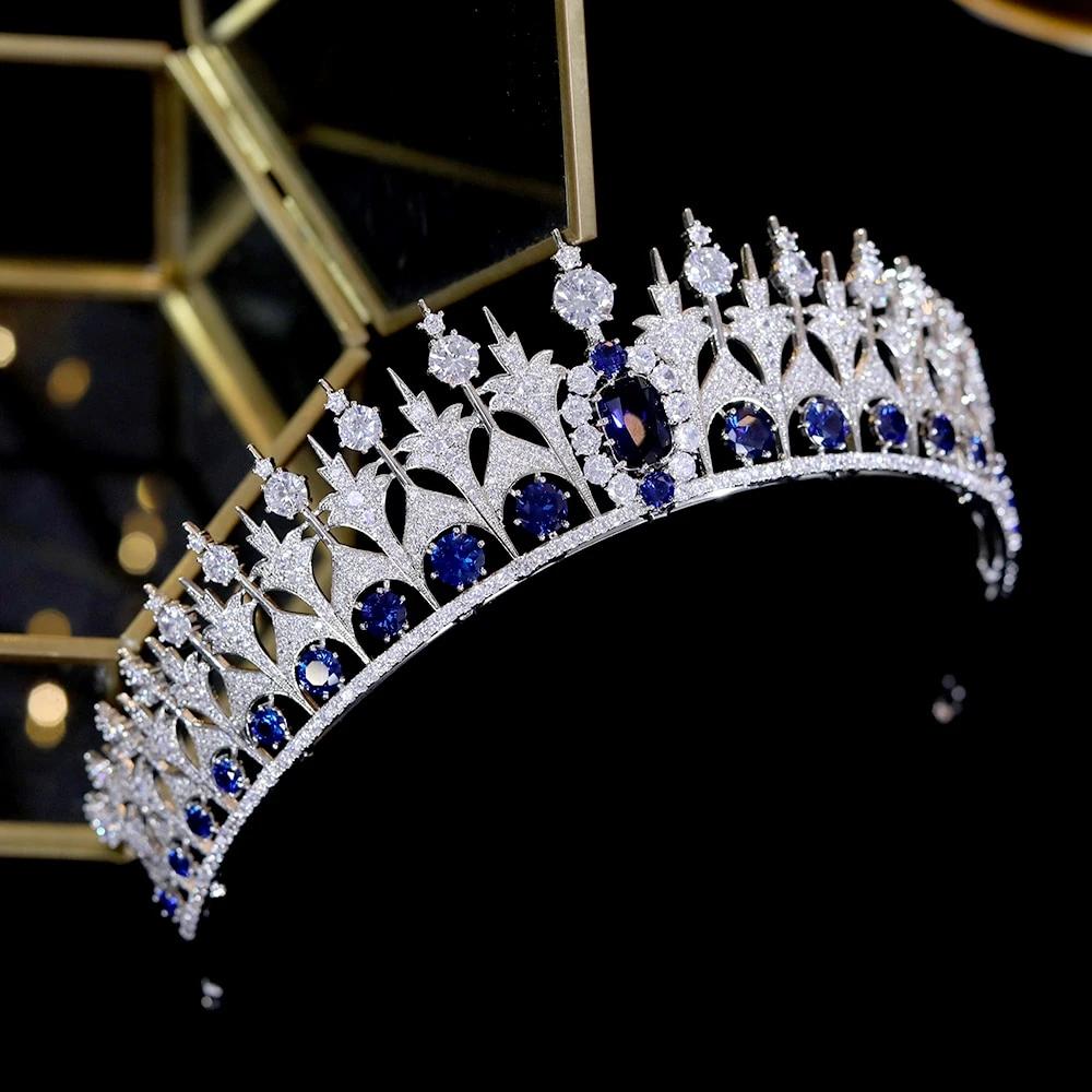 Best Tiara Bling Online: Blue Zirconia Bridal Hair Tiara with Rhinestones