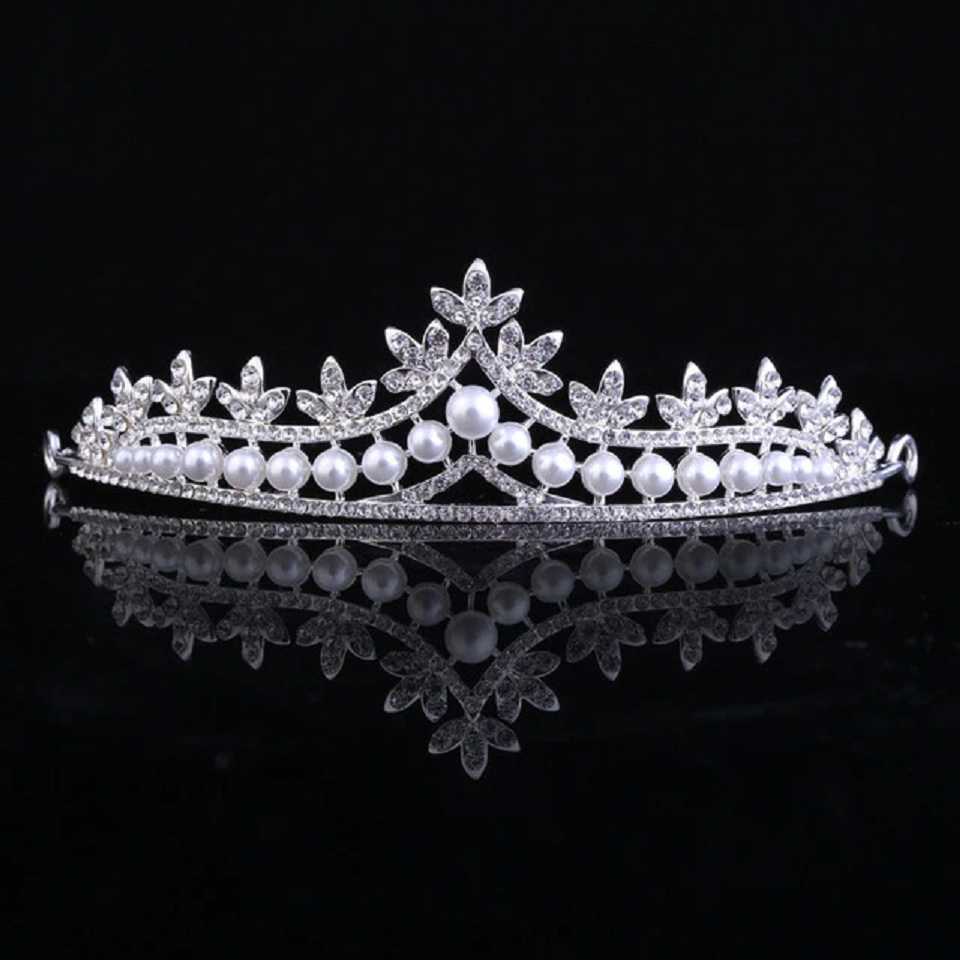 Best Tiara Bling Online: Crystal Queen Crown with White Pearls and Rhinestones