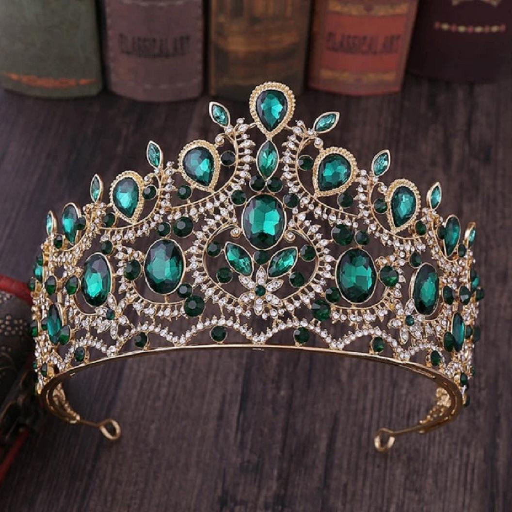 Best Tiara Bling Online: Vintage Baroque Tall Crystal Green Emerald Stone Tiaras