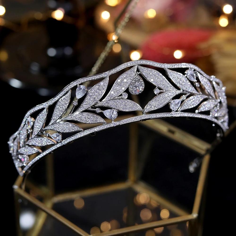 Best Tiara Bling Online: Cubic Zirconia Bridal Wedding Tiara with Rhinestones In Leaf Design