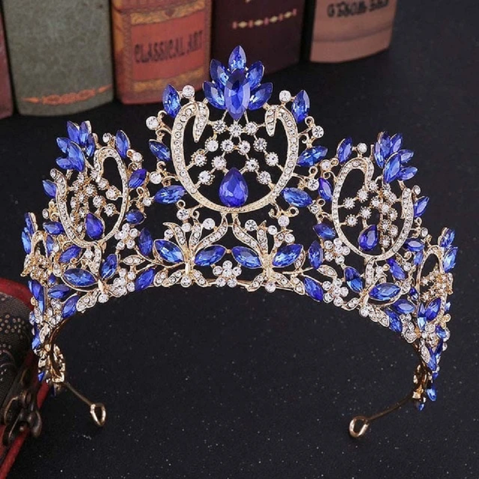 Best Tiara Bling Online: Baroque Fashion Silver and Gold Rhinestone and Crystal Tiara