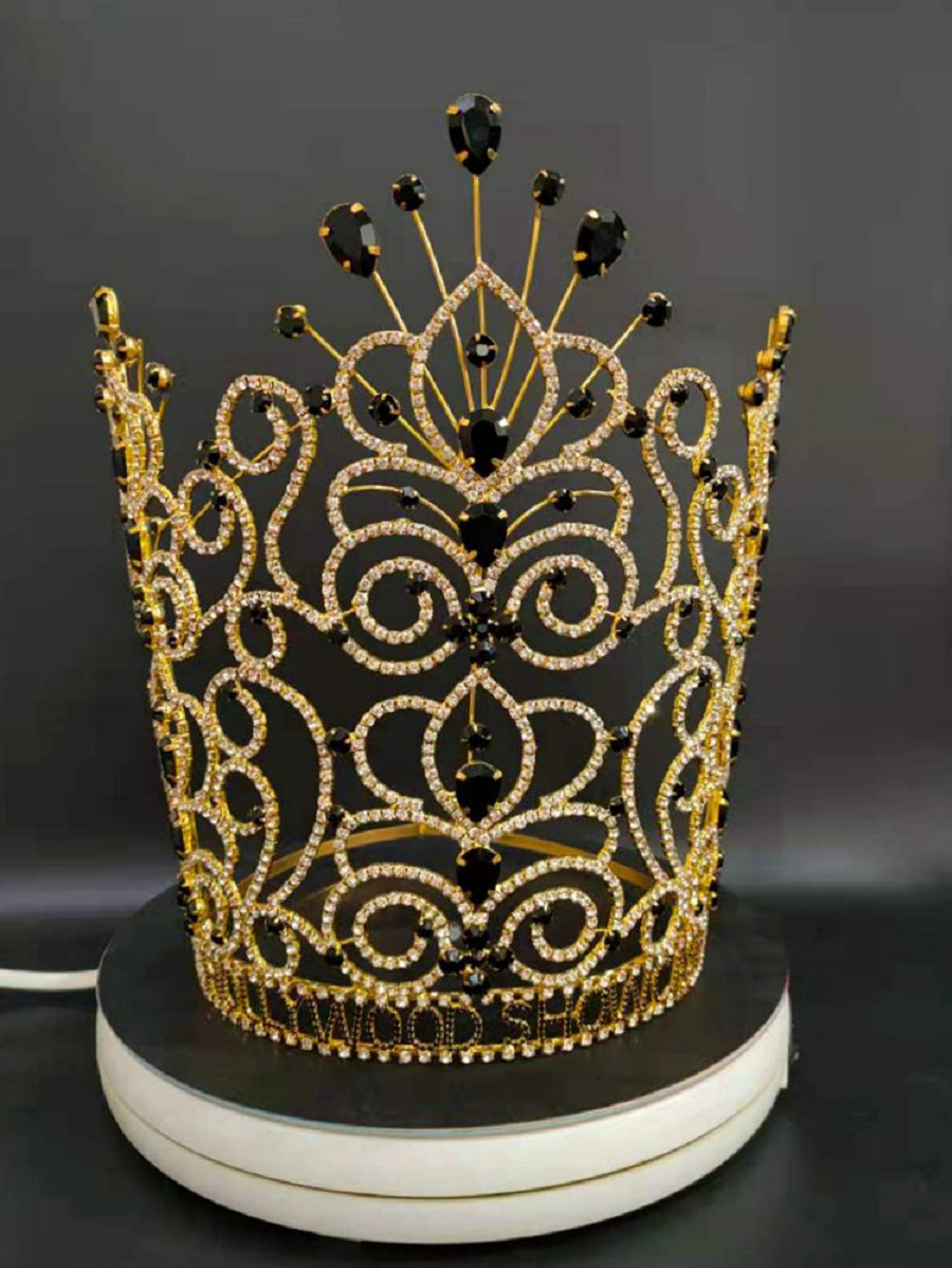 Best Tiara Bling Online: Luxury Tall Crystal Gold Black Pageant Crown