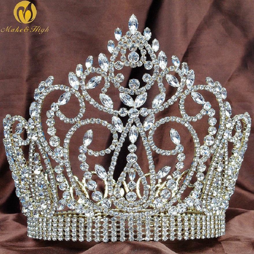 Best Tiara Bling Online: Tiara Diadem Gold Crown with Clear Rhinestones